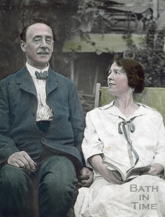 A hand tinted portrait of the photographer and his wife Violet c.1910