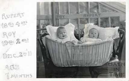 The photographer's twins Roy and Rupert, December 2nd 1911 aged 7 months