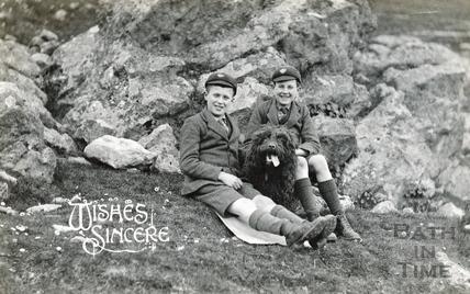 The photographer's twin boys at Bathampton Rocks, c.1922