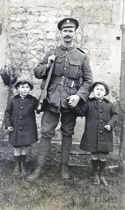 The photographer's twin boys with his brother-in-law Sidney Bence, shortly before leaving for the trenches in WWI c.1915