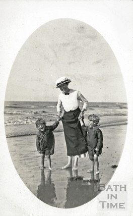 The photographer's wife Violet and twin boys on the beach at Minehead c.1916