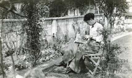 The photographer's wife Violet in their garden at 32 Sydney Buildings c.1930
