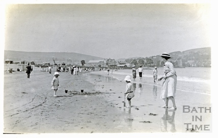 The photographer's wife Violet and twin boys on the beach at Minehead c.1914