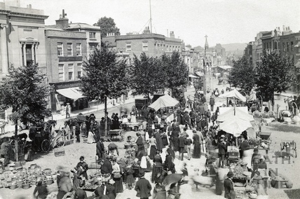 A busy scene on Market Day at the Parade, Taunton c.1892