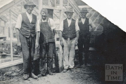 A group shot of gardeners in the greenhouse at St Catherine's Court c.1930s