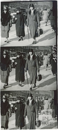 Three shots of elegant ladies walking down Milsom Street c.1920s