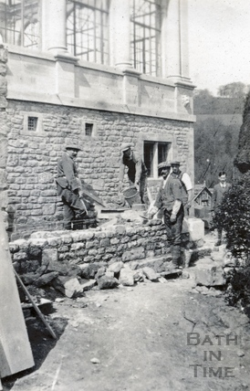 Building the Orangery at St Catherines Court, c.1920