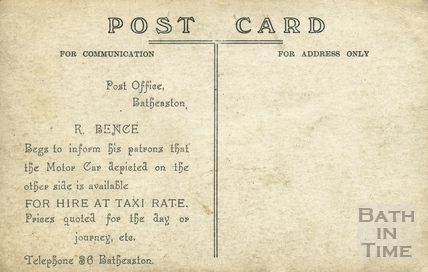 The rear of a card advertising Bences Batheaston Car Service, Post Office Batheaston c.1920