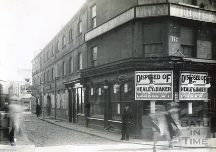 The vacant shop of Titley, grocers and provision merchants, Stall Street, looking down Abbeygate Street, c.1933