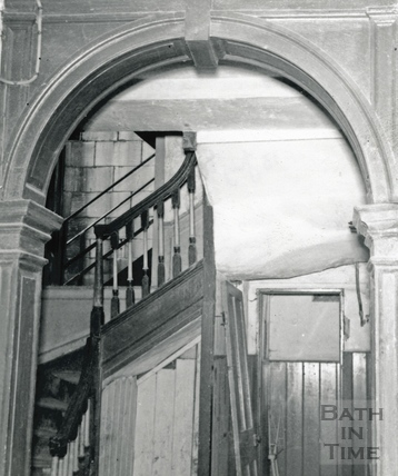 Hall looking north to the staircase, 5 Abbey Gate Street, 13 July 1964
