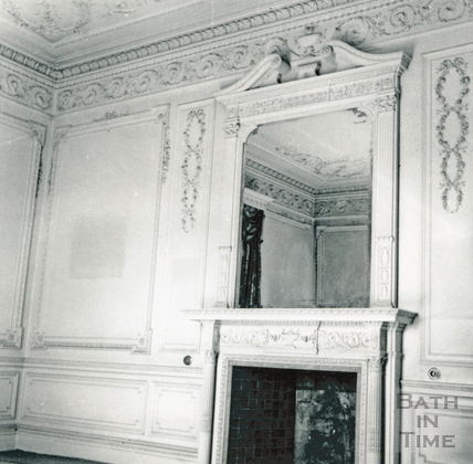 Fireplace and ornate mirror surround, E room, NW wall. Wood House, Twerton May 1964