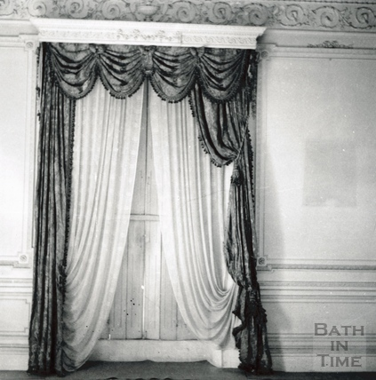 East room, SW wall with drapes. Wood House, Twerton May 1964