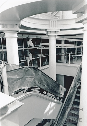 Putting the finishing touches to the upper level of the Podium, 22 May 1990