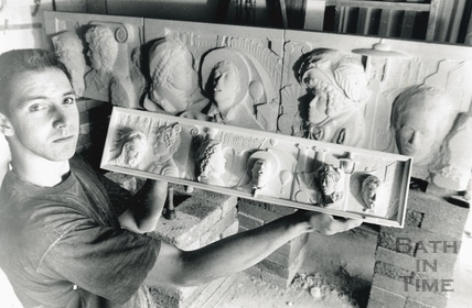 Robert Fleming with his design for the frieze on the outside of the Podium, Bath 3 August 1989