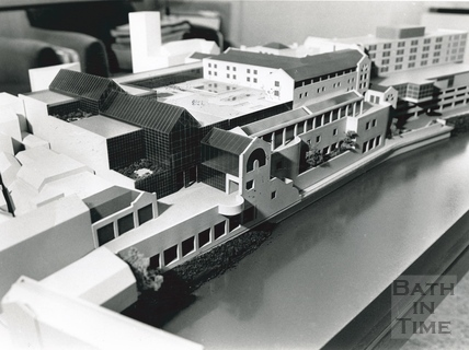 Architects model of the proposed Podium Development, viewed from Pulteney Bridge 28 November 1985