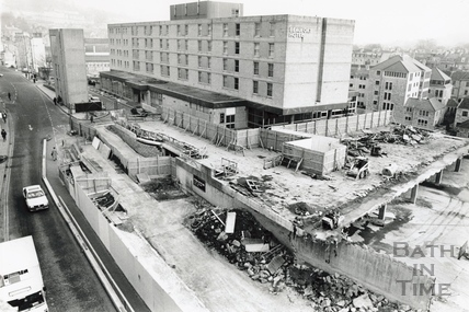 The Beaufort Hotel with the site of the Podium Centre under construction, 29 February 1988