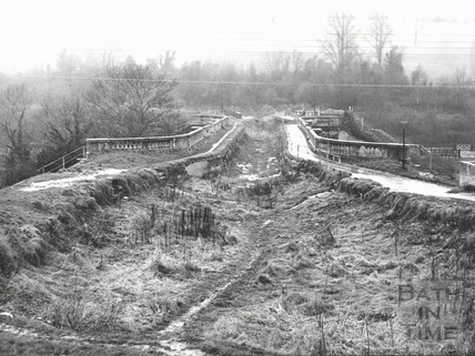 The abandoned Kennet and Avon Canal at Avoncliff Aqueduct c.1970