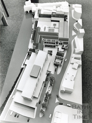 1985 Aerial view of the architects model of the proposed Podium Development November