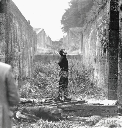 Inside the derelict locks of the Kennet and Avon Canal, Devizes 1971