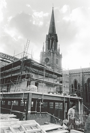View of the spire of St Michaels Church through the Podium development February 1989