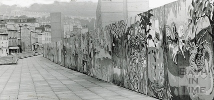 The painted hoarding surrounding the Podium site, next to the Beaufort (Hilton) Hotel, 16 August 1984