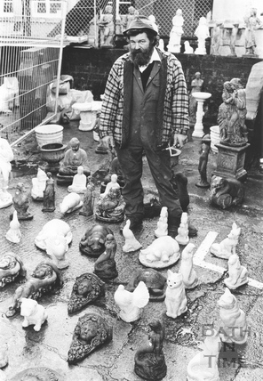 Gerald Dyer, a trader in figurines, Tramshed Flea Market, Walcot Street, Bath 5 December 1992