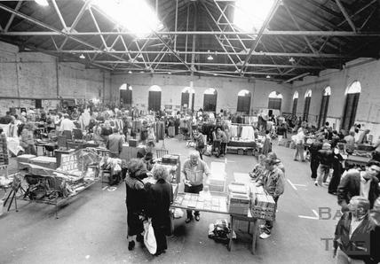 Inside the Tramshed Flea Market, Walcot Street 17 June 1989