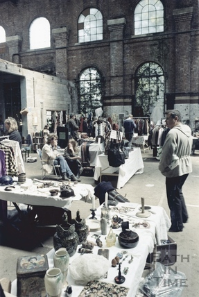 Inside the Tramshed Flea Market, Walcot Street, Bath 11 June 1987
