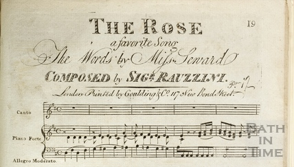 Detail from the title of the score of The Rose, composed by Rauzzini c.1805?