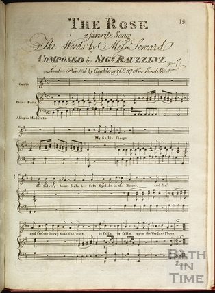 Page 1 (19) from the title of the score of The Rose, composed by Rauzzini c.1805?