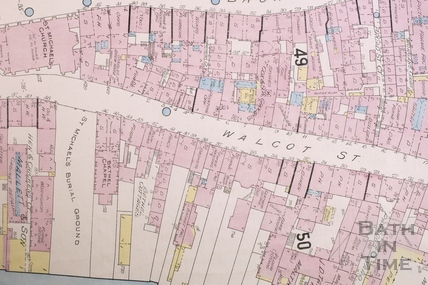 Goad Insurance Map of Bath, The lower section of Walcot Street showing St. Michael's Burial Ground 1902 - detail
