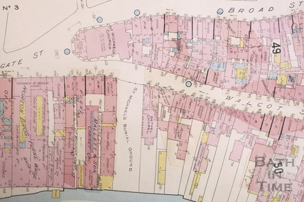 Goad Insurance Map of Bath, The lower section of Walcot Street showing St. Michael's Burial Ground 1924 - detail