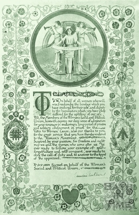 Certificate presented to Clara Codd by the WSPU (Womens Social and Political Union), signed by Emmeline Pankhurst c.1909