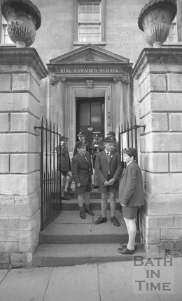 Boys outside the entrance to King Edward's Junior School, Broad Street, Bath, January 1987