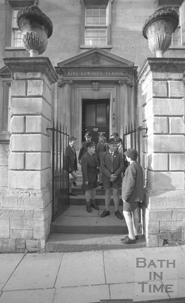 Boys outside the entrance to King Edward's Junior School, Broad Street January 1987