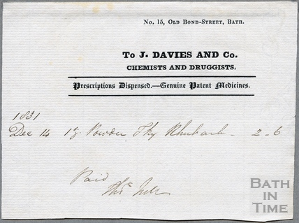 J Davies and Co. Chemists and Druggists, 15. Union St 1831