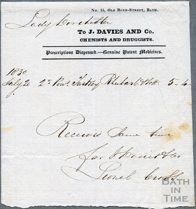 J Davies and Co. Chemists and Druggists, 15. Union St 1830