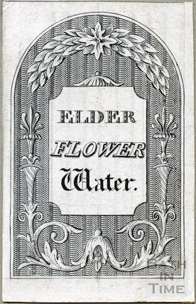 Elder Flower Water bottle label c.1824