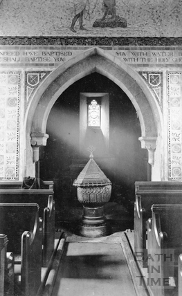 The font inside the church at St Catherines, Batheaston c.1910