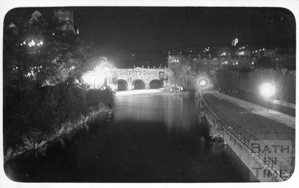 Pulteney Bridge and the River Avon floodlit, c.1930s