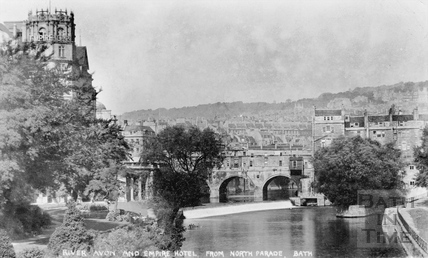River Avon and Empire Hotel from North Parade, Bath c.1910