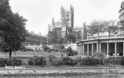 Bath Abbey viewed across Parade Gardens and the river, c.1920s
