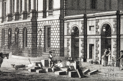 Stone masons outside the Town Hall or Guildhall, High Street, Bath 1794 - detail