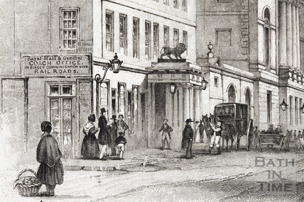 The Market Place, High Street and The White Lion Inn 1843 - detail