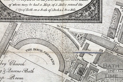 A New and Correct Plan of the City of Bath with the New Additional Buildings to the present time 1789 - detail