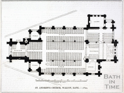 Plan of St Andrews Church, Walcot 1874