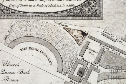 A New and Correct Plan of the City of Bath with the New Additional Buildings to the present time 1783 - detail