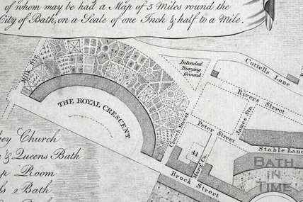 A New and Correct Plan of the City of Bath with the New Additional Buildings 1772 - detail