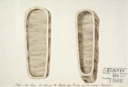 Sketches of stone coffins, found in Russell Street 1852