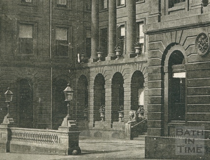 Grand Pump Room Hotel, Stall Street, showing the lions c.1900